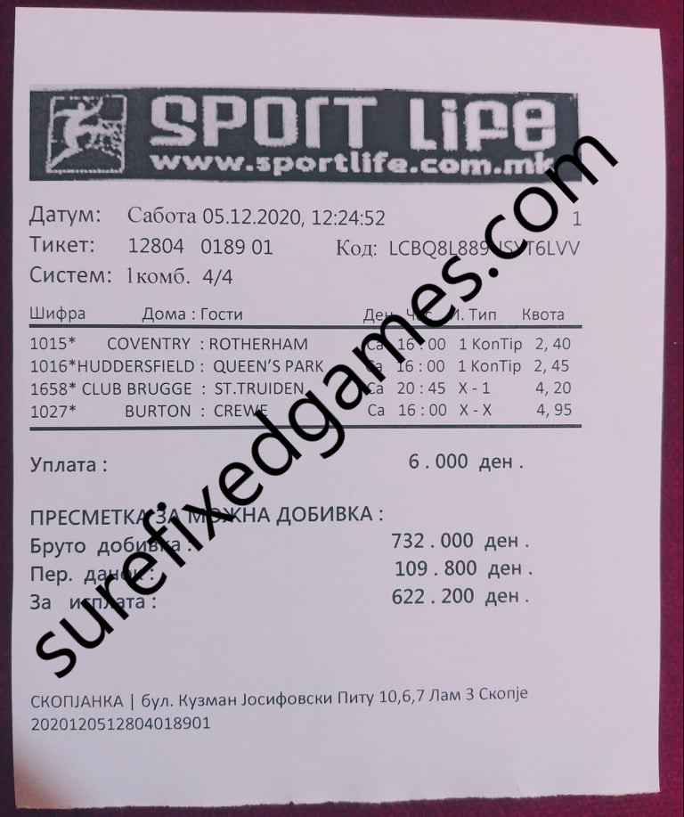 correct fixed matches games